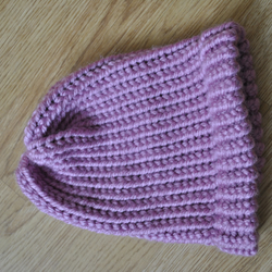 Knitted Girls Hat 1-2Years Dusky Pink