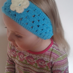 Girls Crochet Blue Headband Earwarmer With Flower Applique 3-6 Years