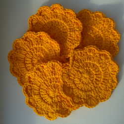 Crochet  Cotton Flower Washcloths Face Scrubbies Pack Of 5 in Orange