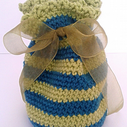 Crochet Striped Green and Blue Gift Bag