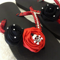 Gothic Goth Wedding Flip Flops Red & Black Skull Bling