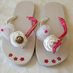 Hen Night Party White Fancy Flip Flops Shoes Lucky SixPence Bling