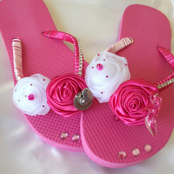 Hen Night Party Pink Fancy Flip Flops Shoes Lucky SixPence Bling