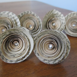 Paper roses made from vintage book pages with a folksy paper roses made from vintage book pages with a crystal at the centre mightylinksfo