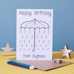 Happy Birthday Umbrella Colouring In Card - Personalised