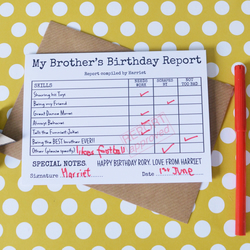 Happy Birthday Brother Report Card