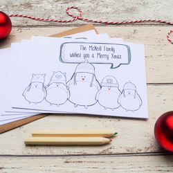 Set of 5 Personalised Robin Family Christmas Cards