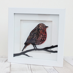 Robin Papercut Framed Artwork