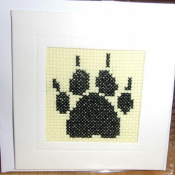 Handmade Charity Cross Stitch Card - Cute Paw Print