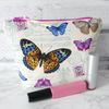 REDUCED: Butterflies make up bag, zipped pouch, cosmetic bag, medium size.