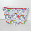 Unicorns make up bag, zipped pouch, cosmetic bag