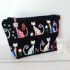 Cat make up bag, zipped pouch, cosmetic bag