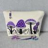 Embroidered zipped pouch, make up bag, toadstools