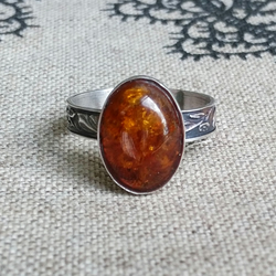 Cognac amber and sterling silver ring