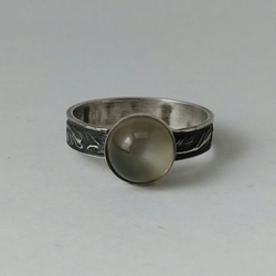 Green moonstone and oxidised sterling silver ring