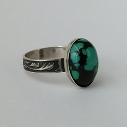 Matrix turquoise and sterling silver ring