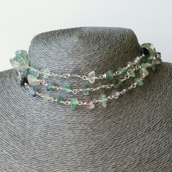 Multi-way rosary necklace in fluorite and silver