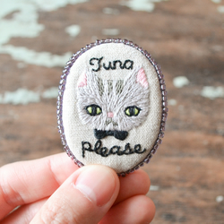 Tuna Please - Hand Embroidered Silver Tabby Cat Soft Brooch