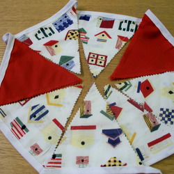 RED AND PATTERNED BUNTING