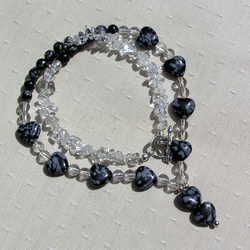 "Clear Quartz & Snowflake Obsidian Crystal Gemstone Necklace - ""Black Ice"""
