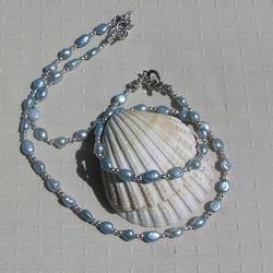 Pearl Necklace & Bracelet Set, Sky Blue Freshwater Pearl and Sterling Silver
