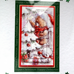 3D Decoupage Christmas Card, Seasons Greetings (1771)