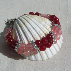 "Red Jade & Cherry Quartz Crystal Gemstone Bracelet ""Rosie"""