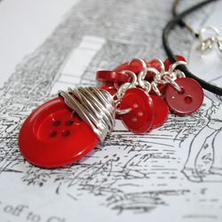 Red Buttons Cluster Necklace