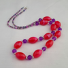 Long pink and purple bead necklace - 1001097