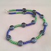 Black, blue and green glass bead necklace - 1001991