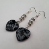 Snowflake obsidian heart earrings