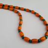 Orange and green wooden bead necklace - 1002336