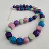 Blue, purple, green wooden bead necklace - 1002325