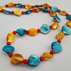 Yellow, turquoise and red shell bead necklace - 1002349
