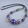 Purple ceramic and Tibetan silver bead necklace - 1002355