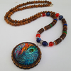 Long wooden beaded bohemian necklace - 1002390