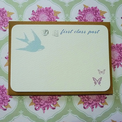 First Class Post Pack of 6 Notecards