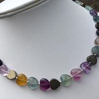 Fluorite and pyrite heart necklace