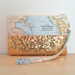 World map clutch, gold sequin wristlet, gold clutch bag, sequin evening clutch