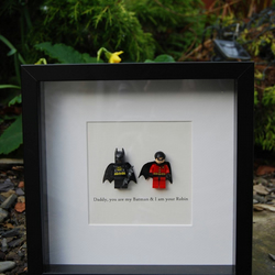 Batman & Robin Superhero Lego Father's Day Box Frame Personalised Gift