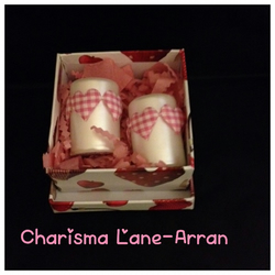 Gingham heart votive candle gift set