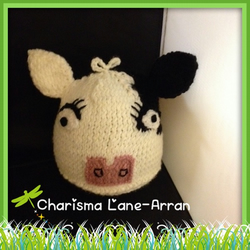 Hand knitted Kids cow hat
