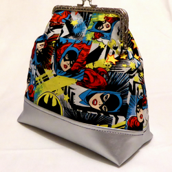 Kiss Clasp Bag with Silver Base made from Batgirl Fabric