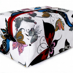 SALE Red Zip, Butterfly Fabric Make up Box Bag (Was 25.00)