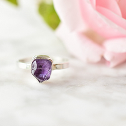 Raw Amethyst and Fine Silver Ring
