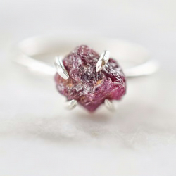 Raw Ruby and Fine Silver Ring