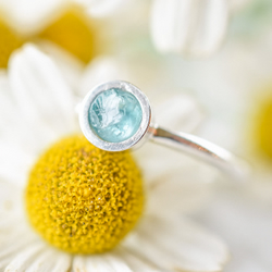 Blue Apatite Ring in Sterling and Fine Silver