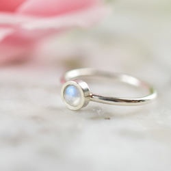 Rainbow Moonstone Ring in Sterling and Fine Silver