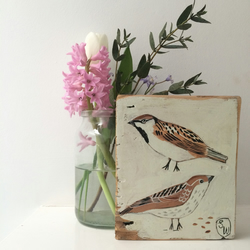 Two sparrows with seeds painting on reclaimed wood