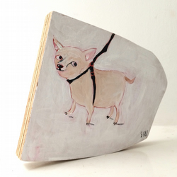 Painting on reclaimed wood of a happy chihuahua dog